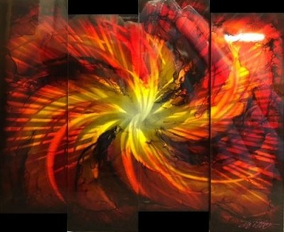 Red & Gold Abstract 4 Panel image