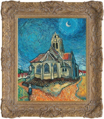The Church at Auvers in the Style of Vincent Van Gogh image