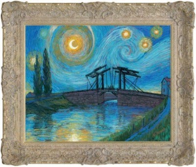 Starry Night with Drawbridge at Arles i image