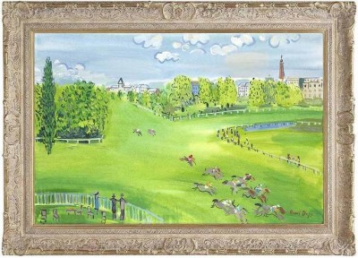 The Racecourse at Longchamps (In the The Style of Raoul Dufy) image